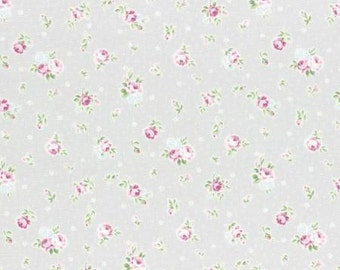 Princess Rose 2015   Cotton Fabric Lecien 31267-90 Small Roses on Pale Gray