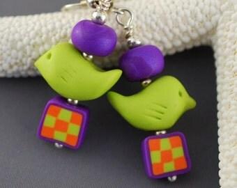 Folk Art Polymer Clay Birdy Earrings, checkerboard, lime green, orange, purple.