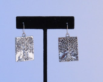 Oak tree,Tree of Life, Auburn,Toomer's Corner, Silver rectangle earrings