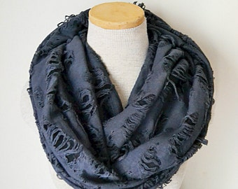 Tattered Grey and Black Infinity Scarf