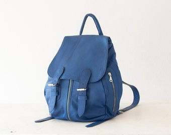 Large Leather backpack in royal blue, rucksack everyday travel knapsack back bag soft leather - Artemis backpack
