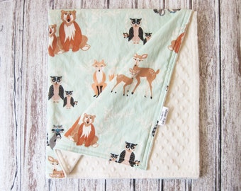 Mint Green Woodland Baby Blanket, Oh Hellow Meadow Minky Baby Blanket,  Mint and Cream Woodland Baby Blanket, Gender Neutral Baby Blanket