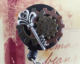 Steampunk with Skeleton Key ID Retractable Badge Holder