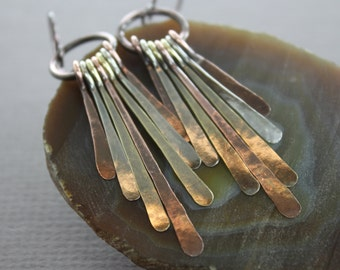 Long mix metal cascade hammered bars dangle earrings - Metal earrings - Cascade earrings - Bar earrings - Mix metal earrings - ER070