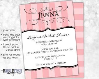 Printable Lingerie Shower • Bachelorette Invite • Victoria's Secret Lingerie Bridal Shower Invitation