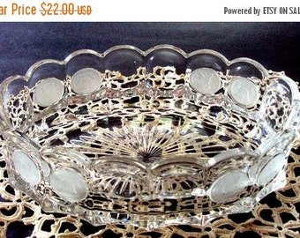 VALENTINES SALE Vintage Fostoria Coin Glass Oval Serving Bowl cr. 1960, Raised, Frosted Liberty Bell and Patriot Coins