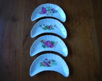 vintage floral bone plates - set of four - formal dining - bone china - Victorian - Cottage Chic
