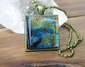 Metallic Peacock Swirl fused glass Necklace, Square Glass Necklace, Dichroic Glass Pendant, Fused Glass Necklace Pendant, Glass Art Necklace