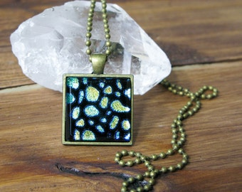 SALE, gift for her, statement necklace, coworker gift, pendant necklace, gifts under 25, dichroic glass, square necklace, colourful jewelry