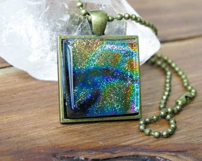 SALE! coworker gift, Dichroic Glass, gift for her, Fused Glass pendant, Square necklace, gifts under 25, statement necklace