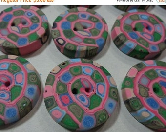 50% OFF - PINK SANTA Fe - 6 Polymer Clay Buttons