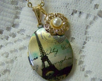 Paris Locket Necklace, Eiffel Tower, I Love Paris, Springtime, French Locket, Gold plated Pearl Flower Charm, photo keeper, Paris art locket