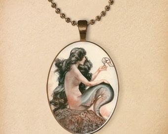 Mermaid and shoe, La Vie Parisienne 1925, Wearable Magazine cover art, Mermaid Art Pendant, Sea Nymph, Oval, Fantasy, Art illustration