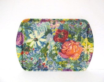 Vintage Colorful Florals Fiberglass Tray