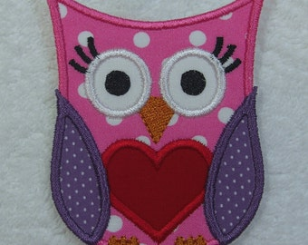 Iron on Owl Fabric Embroidered Iron On Applique Patch Ready to Ship