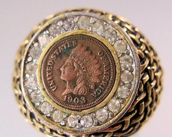 10% OFF SALE Vintage Men's 1903 Indian Head Penny Ring 18K Hge Size 10 Costume Jewelry Jewellery