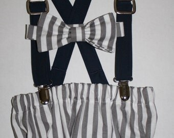 boy first birthday outfit, baby boy cake smash outfit, gray stripe navy blue, 1st birthday hat, suspenders, diaper cover,  boys bow tie,
