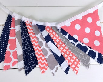 Bunting Banner, Photography Prop, Fabric Flags, Girl Nursery Decor - Coral Pink, Grey, Gray, Navy Blue, Chevron, Dots, Quatrefoil