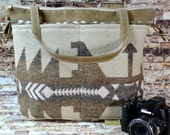 Camera bags Made in the USA Darby Mack - Navajo style Wool blanket print DSLR Tote waterproof base Our Kendall bag in Brown, Khaki, Natural