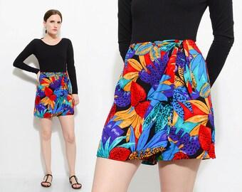 Vintage 80s TROPICAL Floral Shorts Jungle Print High Waist Sarong Mini Skort Vibrant Colorful Skirt Medium M