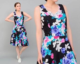 Vintage 80s does 50s Navy Floral Dress Cotton Crinoline Circle Skirt  Knee Length Retro Rockabilly Dress Lace Applique Medium Large M L