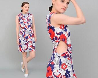 Vintage 60s Floral Print CUT OUT Waist Mod Go Go Mini Dress Navy White Medium M