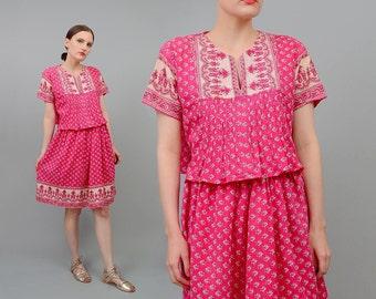 Vintage 70s Ramona Rull Pink INDIA Cotton Dress Crop Top Mini Skirt Boho Hippie 2 pc Set Medium M
