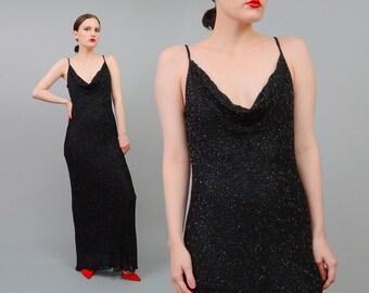 Vintage 90s Black Silk Bias Cut Fitted Dress Beaded Spaghetti Strap Formal Cocktail Maxi Dress S M