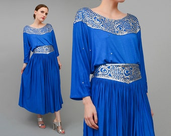 80s Blue Dress Two Piece Set, Gypsy Dress, Bohemian Maxi Skirt, Metallic Silver 80s Sequin Top, Full Maxi Skirt, 2 pc Outfit, Small S M