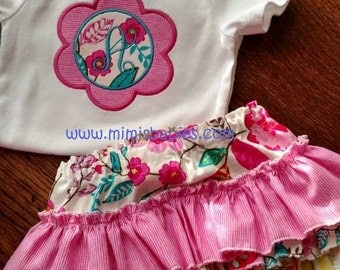 Ruffled Diaper Cover and One Piece Set for Baby Girls and Toddlers