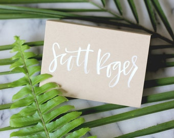 White Hand Lettering Place Card Calligraphy on Kraft Cardstock
