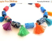LetsPartySale Colorful beads and tassels fabric necklace, artisan tassel fabric necklace, winter blue tassel fiber necklace, fabric necklace