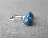 Small Steel Blue Earrings, Wire Earrings Small Blue, Blue Glass Drop Dangles, Lampwork Earrings Blue, Silver Wire Earrings, Sterling Silver