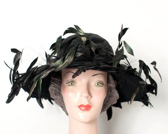 vintage feather hat / Don Anderson designer hat / Kentucky Derby Hat