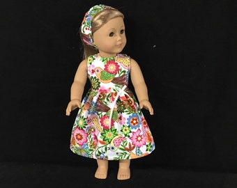 Doll Clothes for American Girl or Most Other 18 Inch Dolls Brazilian Bird Print Flower Print Lea Sun Dress