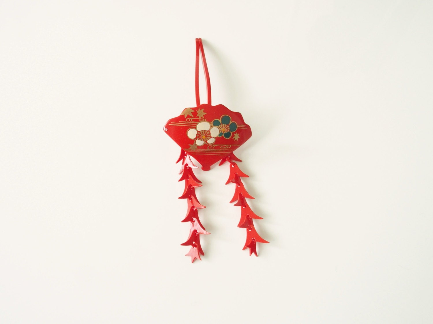 Vintage Kanzashi Red Hair Ornament Traditional Japanese Design