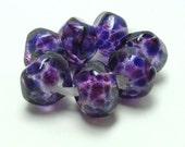 Lampwork bead set, purple lampwork beads, violet glass beads, purple nugget lampwork beads, artisan lampwork beads,  loose glass beads