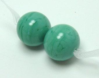 SRA Lampwork bead  -  Plain Jane : Jade  -  green glass bead, lampwork bead pair, round lampwork bead, moss green