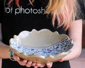 Ceramic bowl, decorative serving bowl,Pottery bowl, blue floral bowl