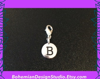 Letter B charm, alphabet charm, personalised initial letter clip charm, bracelet charm, zipper pull, silver plated, UK
