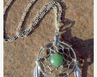 SALE AVENTURINE DREAM Catcher Necklace in Silver with Aventurine, dreamcatcher necklace, dream catcher