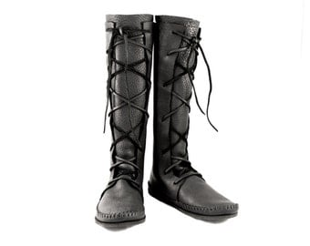 Plain Knee High Boot / Tall Moccasin Hand Stitched Soft Bullhide Leather Upper With A Durable VIBRAM Sole / Druid Knight Renaissance