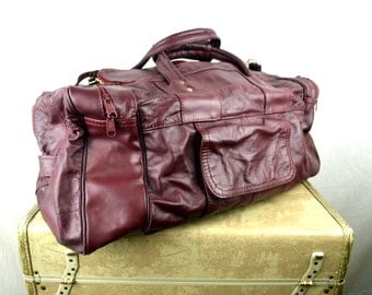 Vintage 80s Red Maroon Leather Mini Duffel Bag Purse