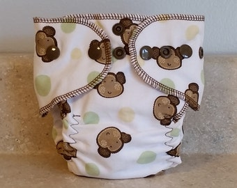 Fitted Preemie Newborn Cloth Diaper- 4 to 9 pounds- Monkeys on White- 16005