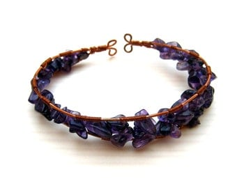 Amethyst and Copper Cuff, Wire Wrapped Bracelet, 6 to 7 inches, Bare Copper Wire, Purple Chip Beads, Adjustable, Artisan Jewelry