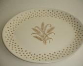 USA China Platter = Homer Laughlin = Golden Wheat = Fleur De Lis = Cottage Chic
