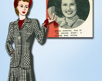 1940s Vintage Hollywood Starlet Sewing pattern 721 Misses WWII Suit Size 12 30B