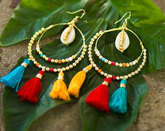 Happy Tassle Hoops-