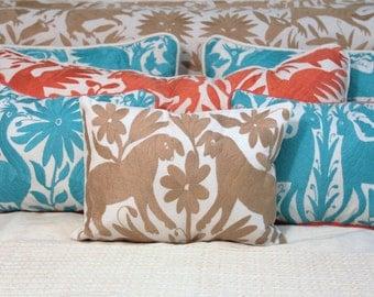 Tan Pillow Sham-Otomi Embroidery Ready to ship.