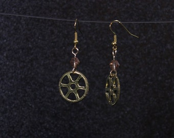 Steampunk Gear dangle earrings with champagne glass beads